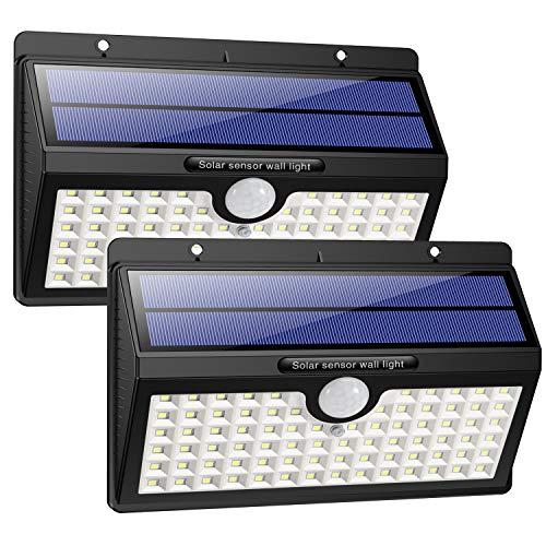 Solarleuchte für Außen, [2 Stück] HETP 78 LED Solarlampe Außen 180° Superhelle Solarleuchte mit Bewegungsmelder Sicherheitswandleuchte 3 Modi [2000mAh] Wasserdichte Wandleuchte Garten