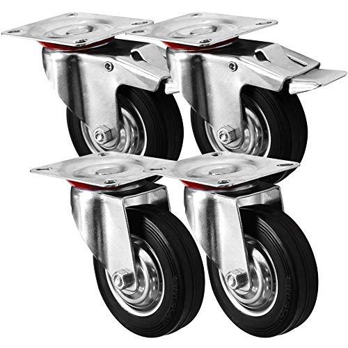 4 pz, ruote orientabili, trasporto, Ruote 100 mm, in gomma, pneumatici di guida FS/