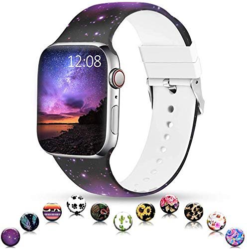 Sunnywoo Sport Band Compatible with Apple Watch 38mm 40mm 42mm 44mm, Soft Silicone Floral Fadeless Strap Replacement Bands for iWatch Series 4, Series 3, Series 2, Series 1Sport Edition Women Men
