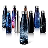 Shinemefly Water Bottle 500ml Stainless Steel Bottle | Double Walled Vacuum Insulated Running Water Bottles | BPA-Free Reusable Sport Bottles | Keeps Hot for 12 Hrs Cold for 24+ Hrs