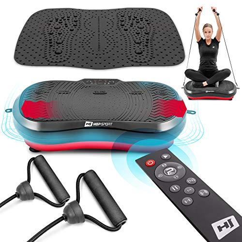 Hop-Sport Vibrationsplatte HS-050VS Vibrationstrainer mit Trainingsbändern Fernbedienung 99 Intensitätsstufen 3 Trainingszonen 11 Trainingsprogramme mit Massagematte