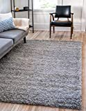 Unique Loom Solo Solid Shag Collection Modern Plush Cloud Gray Area Rug (5' 0 x 8' 0)