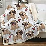 Sleepwish Pug Fleece Blanket Pet Blanket Dog Reversible Blanket Soft Sherpa Blanket Throw Blanket for Pug Lover (50'x 60')