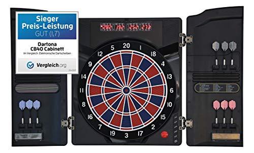 Dartona Elektronische Dartscheibe CB40 Cabinett - | Dartscheibe elektronisch | Turnierscheibe mit 27 Spielen und über 250 Varianten
