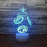 Moda creativa robot lámpara de mesa 3D multicolor LED luz nocturna base agrietada lámpara decorativa regalo