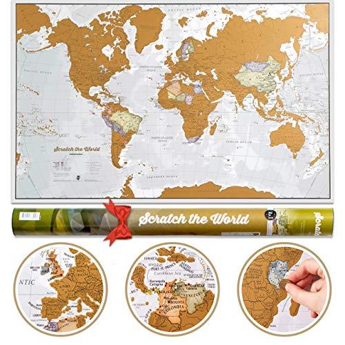 Carte du Monde à gratter avec comme cadeau un tube de transport - Très...
