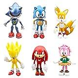 Sonic Cake Topper, 6 Piezas Sonic Figuras Set Sonic The Hedgehog Cake Decoración Figuras Sonic Mini...