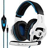 SADES SA810 Gaming Headset Stereo Surround Sound Headphones Volume Control Bass Gaming Headphones with Noise Isolating Microphone for Xbox One PS4 PC Laptop Mac(White and Blue)
