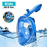 RayCue Snorkel Mask 180° Panoramic View Easy Breathing Full Face Snorkeling for Kids Anti-Fog Anti-Leak Safety Diving Mask with Detachable Action Camera Mount (XS)