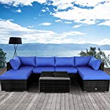 Outime Outdoor Black Rattan Sofa Patio Furniture Garden Couch Sectional Set Conversation Sofa Sets Outside Sofa Royal Blue Cushions 7 Pcs