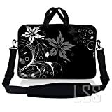 LSS 14.1 inch Laptop Sleeve Bag Carrying Case Pouch w/Handle & Adjustable Shoulder Strap for 14' 14.1' Apple MacBook, GW, Acer, Asus, Dell, Hp, Sony, Toshiba, Black and White Floral