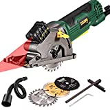 """Mini Circular Saw with Laser, TECCPO 4.0A 3-3/8"""" Compact Circular Saw, 3500 RPM Fine Copper Motor, Scale Ruler, 3 Blades for Wood, Tile, Soft Metal and Plastic Cuts - TAPS22P"""