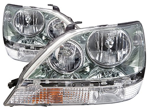HEADLIGHTSDEPOT Chrome Housing Halogen Headlights Compatible With Lexus RX300 1999-2003 Includes Left Driver and Right Passenger Side Headlamps