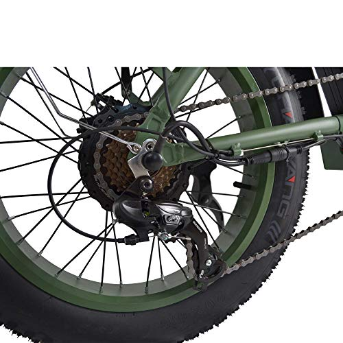 Product Image 7: Adult Electric Bike, 20 Inch Fat Tire Folding Electric Bicycles 48V 750W Motor 13AH Lithium-Ion Battery, Beach Snow Hunting City 7 Speed Cycling E-Bikes for Women Men (Green)