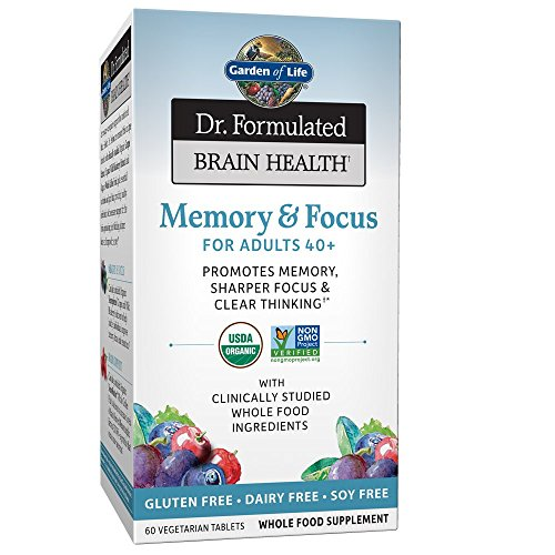 Garden of Life Dr. Formulated Organic Brain Health Memory &Focus for Adults 40+ 60 Tablets