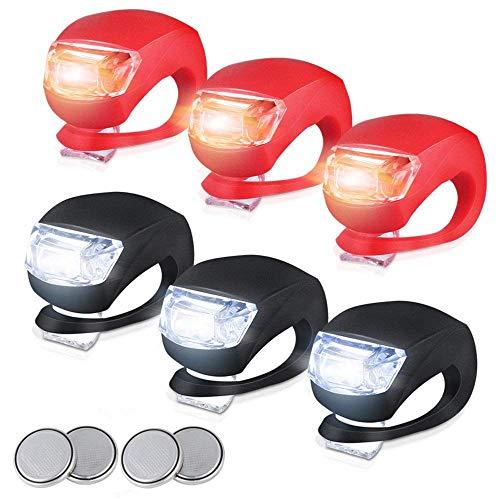 LILYTING Fahrradlicht Set, 6PCS LED Fahrradbeleuchtung Fahrradlampe fahrradlichter USB Wiederaufladbare Licht Set Frontlicht Rücklicht Lampenset Original Fahrrad-Zubehör (3PCS/Schwarz+Rot)