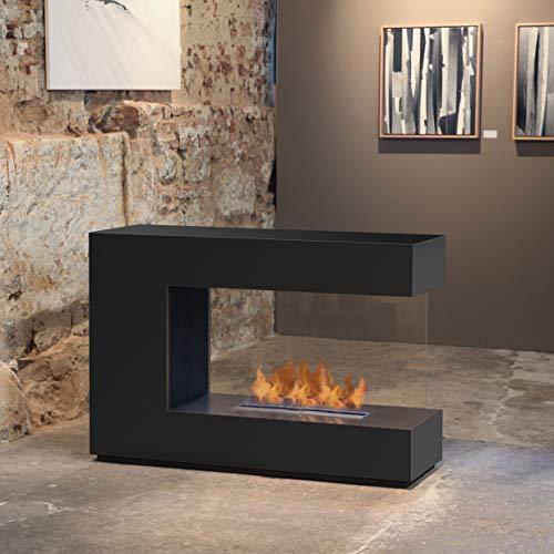 Muenkel Design Loft.line - C-02 [Design Room Divider Ethanol Fireplace]: Deep Black - Primefire Pro