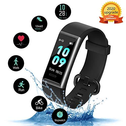 Kungix Fitness Armband, IP68 Wasserdichtes Fitness Tracker, Fitness Uhr mit Pulsmesser, Schlafüberwachung, Schrittzähler, Activity Tracker Uhr mit 14 Sport-Trainingsmodi, für iOS Android iPhone