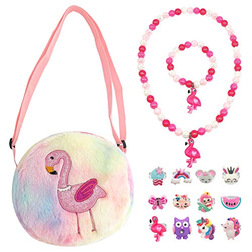 51hZdhMY8qL Package include 1pc plush purse and toy playset jewelry set. Color is shown in picture. Toy play set include: 1pc necklace and 1pc matching bracelet, 12pc adjustable rings set. Bag Material: plush and cotton, Bag Size: 8 inch for diameter