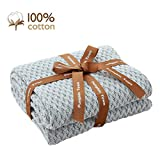 Pumpkin Town Gray 100% Cotton Cable Knit Spring and Summer Throw Blanket for Soft Sofa, Chair, Couch, Picnic, Camping, Beach, Home Decorative Knitted Blanket, 50'x 60'