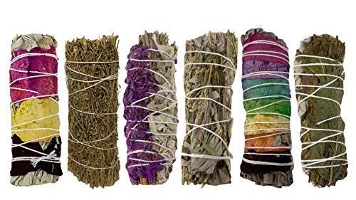 Sage Smudge Kit - 6 Smudge Sticks for Cleansing, Healing,...