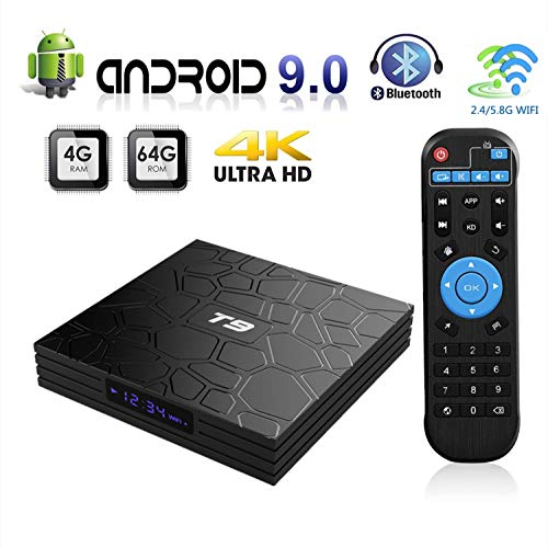 Android 9.0 TV Box, 2019 Newest Smart T9 Box 4GB RAM 64GB ROM RK3328 Quad-core 64 Bits Set Top Box Support 4K 3D 2.4Ghz/5Ghz Dual WiFi BT 4.1 USB 3.0 H.265 HDMI Output Ultra HD Video Player