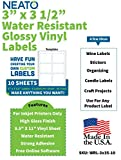 Neato Craft Label Stickers - Great for Wine Bottle, Jar, Candle, Address Labels- Printable for Inkjet - White, Glossy, Water Resistant, 10 Blank Sheets Makes 60 Labels -3'x 3.5' - Free Design Software