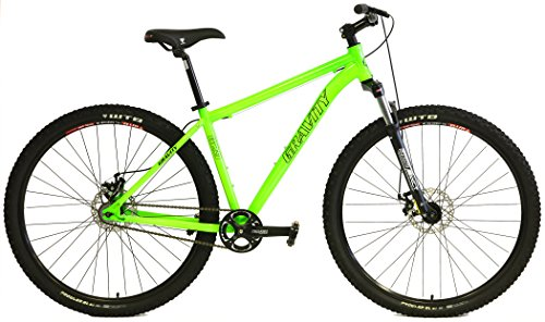 Gravity G29 FS 29er Single Speed Mountain Bikes + Lock Out Suspension Fork Disc Brakes (Green, 21' Fits Most Riders 6'2' to 6'5')