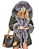 Roiii Women's Warm Winter Coat Hood Parka Overcoat Faux Fur Parka Jacket Outwear (Small, AmryGreen)