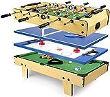 Leomark Table de Babyfoot 4 in 1 Multifonctionnel Jeu de Football,Bilard, Tenis, Hockey Baby-Foot, Baby Foot Table En Bois Jeu de Football Petite Taille Universel