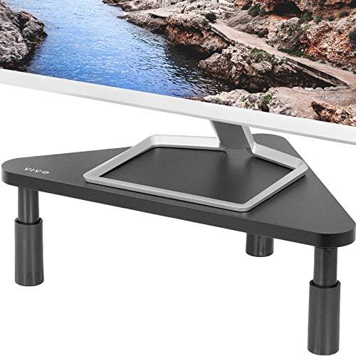 VIVO Corner 17 inch Monitor Riser, Wood & Steel Desktop Height Adjustable Stand | Ergonomic Desk and Tabletop Organizer, Black (STAND-V000DC)