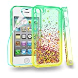 Zingcon Compatible for iPhone 4 Phone Case, iPhone 4S,4G Glitter Quicksand Case,with HD Screen Protector,Shockproof Hybrid Hard PC Soft TPU Bling Adorable Shine Protective Cover-Green/Orange