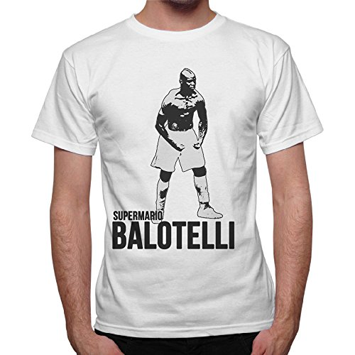 thedifferent T-Shirt Uomo Maglia Super Mario Balotelli Goal - Bianco (M)