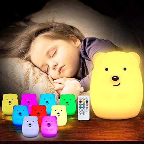 Luce Notturna Bambini in Silicone Morbido Safe Lampada da Comodino 9 Colori con Telecomando...