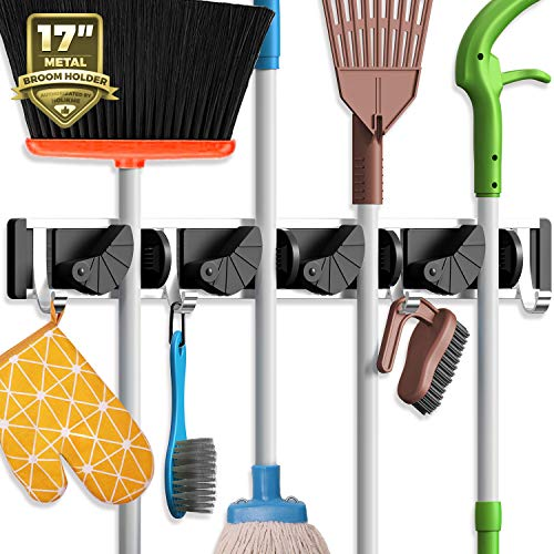 Holikme Mop Broom Holder Wall Mount Metal Pantry Organization and...
