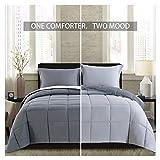 Lightweight Comforter Set - King Gray All Season Down Alternative Comforter Set Summer Duvet Insert 3 Piece - 1 Comforter with 2 Shams Reversible King Size Dark Gray / Light Grey 104x88 in