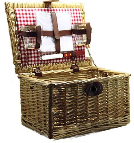Bada Bing Picknickkorb Für 2 Personen Korb mit Fahrradhalterung HBT ca. 20 x 34 x 24 cm Mit Inhalt Naturgeflecht Weidenkorb fürs Picknick Fahrradkorb 10
