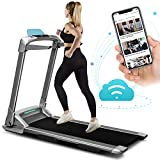 OVICX Q2S Folding Portable Treadmill Compact Walking Running Machine for Home Gym Workout Electric Treadmills with LED Display Device Holder Treadmill for Small Spaces 3.0HP Weight Capacity 265 Ibs