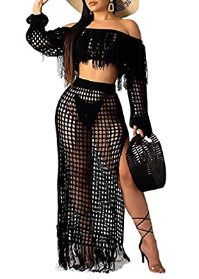 Features: Mesh see through, fishnet, solid color, off the shoulder, long sleeve, maxi long skirt, high slit, hollow out tassel, bikini cover up, bodycon 2 piece tassel dress, sexy clubwear, beach cover up. Including: A crop top and a maxi skirt. Sexy...