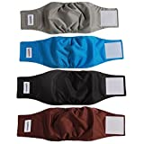 vecomfy Washable Belly Bands for Male Dogs 4 Pack,Premium Reusable Small Dog Wrap Leakproof Doggie Diapers,M