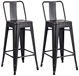 AC Pacific Modern Light Weight Industrial Metal Bucket Back Barstool, 30' Seat Height Counter Stool (Set of 2), Distressed Black Finish