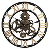 Seciie 58cm Horloge Murale Geante XXL Pendule Industriel Horloge Silensieuse Horloge à Quartz Vintage pour Salon, Salle, Chambre, Bureau