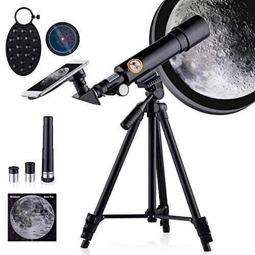 Telescopio para Niños HD 18-90X Astronómico refracción Telescopio para Principiantes Portatil Telescopio Observer la Luna,Estrellas,de Aves, Regalo para niños