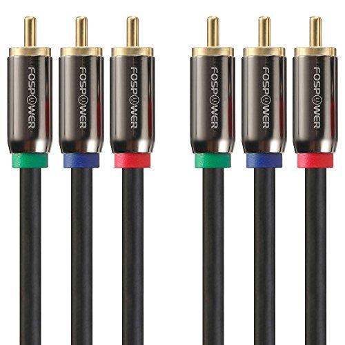FosPower [3FT 3RCA Maschio a 3RCA Maschio RGB Plugs, YPbPr Video Component connettori dei Cavi per Dvd Players, VCR, Camcorder, Projector, Game Console