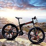 baodanla Folding Mountain Bike, 24 Inch 21 Speed Outdoor Exercise Bicycle Road Bike for Adult Women Dual Disc Brakes Full Suspension Non-Slip Bikes, Cruiser Bicycles Trek MTB Bicycle (Black)