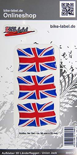Bike Label 300512N - Pegatina en 3D (50 x 33 mm), diseño de Bandera de Reino Unido