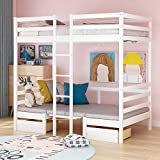 Twin Size Bunk Beds, Wood Loft Bed Frames Convertible Lower Berth or Desk Benches, w/2 Storage Drawers and Cushion Sets for Kids Teens, No Box Spring Needed White