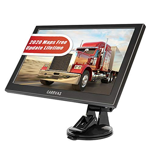 CARRVA 2020 9 inch Car GPS Navigation for Car, with Truck Navigation Voice Steering Reminder System, Current Speed Display, Truck Length, Width and Height Settings, Speed Camera prompts
