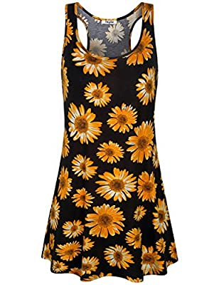 Sleeveless, racerback, tank dress with pockets, above knee length, loose fit, swing flowy Style nice summer dresses, casual sundresses for women The basic Tshirt dress with handy pockets is very useful, perfect for spring and summer time or layering ...