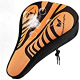 Bike Seat Cushion, Unisex Breathable And Comfortable Bicycle Seat Cover, Thick Silicone Super Soft Comfortable Exercise Bike Seat Cover, For Fits Cruiser And Stationary Bikes, Indoor Riding (Orange)